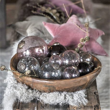 kerstbal glas metal chips roze en clear diverse maten ib-laursen christmas ornament pebbled glass7