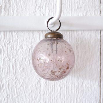kerstbal glas metal chips roze hoog 6.5 cm diameter 5.5 cm ib-laursen christmas ornament pebbled glass rose1