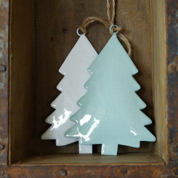 kerstboom metaal wit of mint groen hoog 13 cm breed 8.5 cm christmas tree for hanging with jute string ib-Laursen1