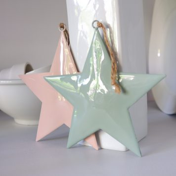 ster mint groen of roze metaal hoog 15 cm breed 15 cm star for hanging with jute string ib-laursen1