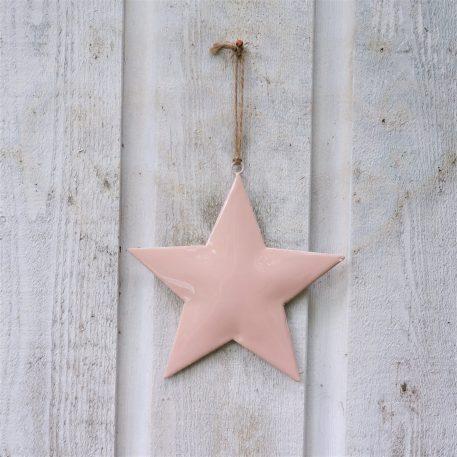 ster roze metaal hoog 15 cm breed 15 cm star for hanging with jute string ib-laursen1