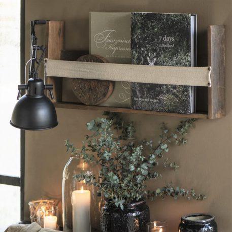 wandplank met canvas webbing barnwood hoog 30 cm breed 70 cm diep 8 cm ib-laursen shelf with furniture webbing in front unique