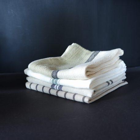 keuken theedoek beige-zwart wit ruit off white-zwart streepje off white-groene streep off white groene bies beige-zwart streepje 50 x 70 cm 100% katoen mynte ib-laursen2