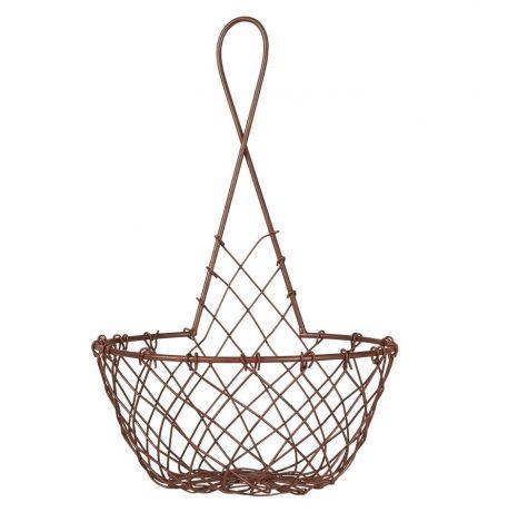 bruin metalen wandmand hoog 30 cm diameter 19 cm ib laursen wall basket wire1