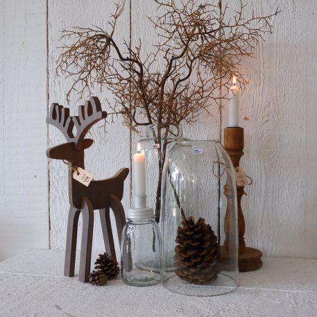 vaas smalle hals mond geblazen glas hoog 32 cm diameter 15.5 cm ib laursen vase tall clarity en stolp fleskandelaar rendier1