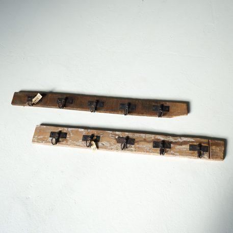 barnwood wandplank met 5 kapstok haken licht en donker truckwood 5 haken 90 cm breed