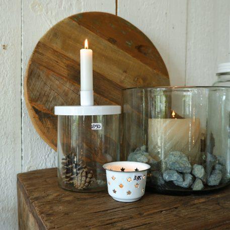 ib-laursen glazen fles kandelaar wit metaal hoog 17 cm hoog 25.5 cm en hoog 16.5 cm candleholder for dinner candle metal lid white14